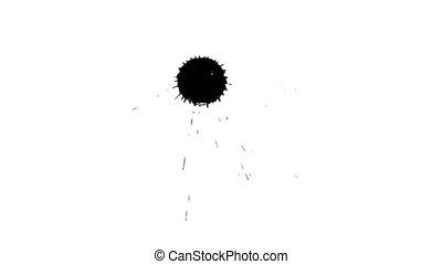 Ink drop on dry paper 13 - Black inks drop on dry paper....
