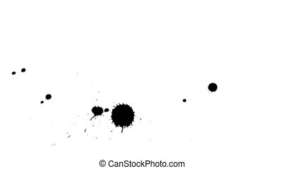 Ink drops on dry paper 26 - Black inks drop on dry paper....