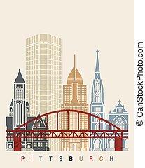 Pittsburgh V2 skyline poster in editable vector file