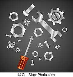 Wrench and screwdriver with nuts and bolts abstract