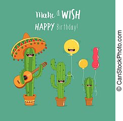 Cactus symbols - Cactus with baloons are friands funny joke