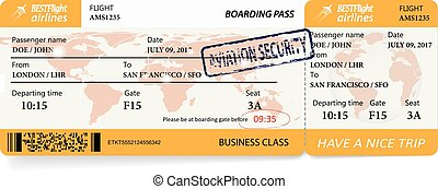 Airline boarding pass ticket with a map over background....