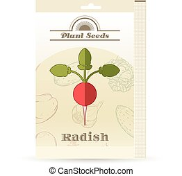 Pack of Radish seeds icon - Vector image of the Pack of...