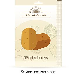 Pack of Potatoes seeds icon - Vector image of the Pack of...
