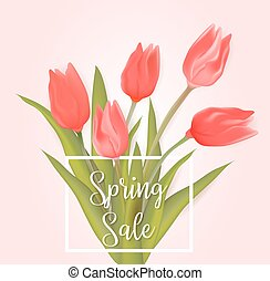 Spring sale background with tulips