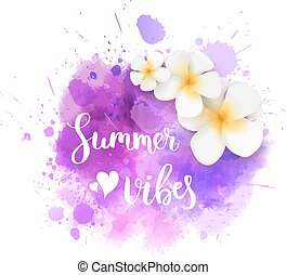 Summer splash background with flowers - Watercolor imitation...