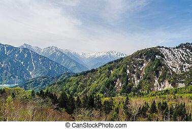 Mountain range at japan alps tateyama kurobe alpine route