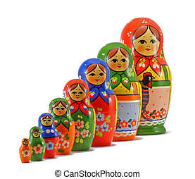 Descending Nesting Dolls - Russian nesting dolls set up in a...