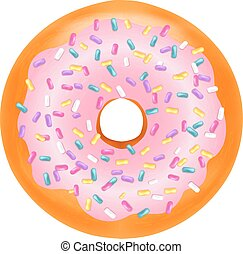 Donut With Gradient Mesh, Vector Illustration
