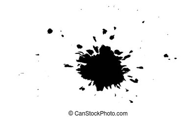 Ink drops on wet paper 54 - Black inks drop on wet paper....