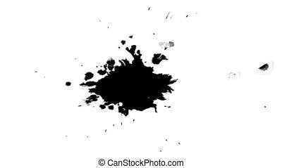 Ink drops on wet paper 57 - Black inks drop on wet paper....