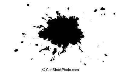 Ink drops on wet paper 09 - Black inks drop on wet paper....