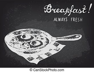 Fried eggs with broccoli on the pan. Chalkboard style vector illustration.