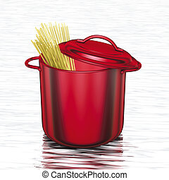 cooking red pot with spaghetti - 3D rendering, cooking red...