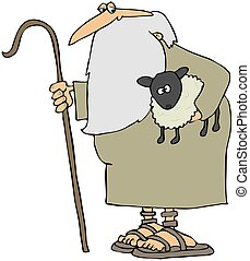 pastor, segurando, Um, cordeiro