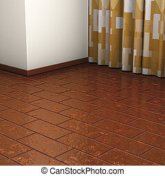 Corner floor brown curtain