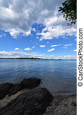 A View From a Rocky Beach in Casco Bay Maine - Beautiful...