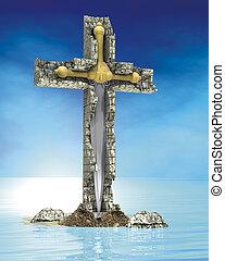 pedra, crucifixos, espada