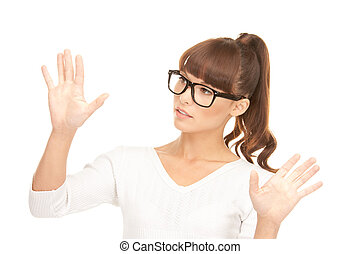 businesswoman working with something imaginary - picture of...