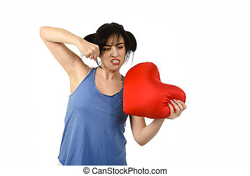 young attractive and beautiful woman punching in rage...
