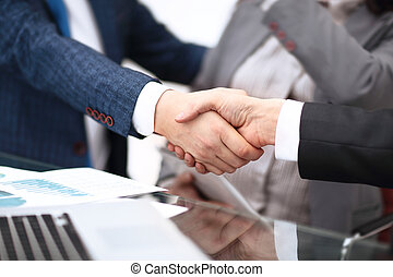 Business partnership meeting concept. Image businessmans handshake. Successful businessmen handshaking after good deal. Horizont