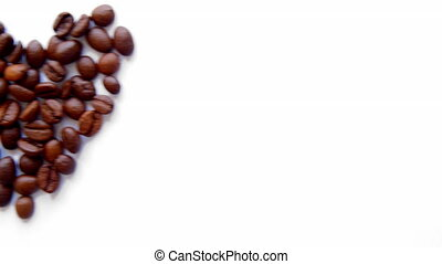 USB stick and heart from coffee beans on white background