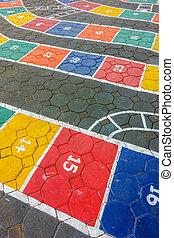 Rayuela, piso, pintado, juego, sobre, vistos