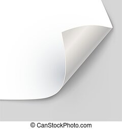 Paper page corner curl with shadow vector template.