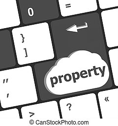 Insurance concept. computer keyboard with word Property word...