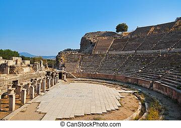 Ancient amphitheater in Ephesus Turkey - archeology...