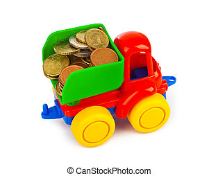 Toy car truck and money coins