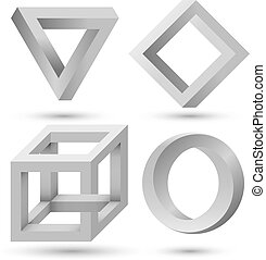 Shaded impossible geometric object set vector template.