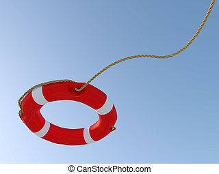 White and red lifebuoy with the rope thrown in the air.