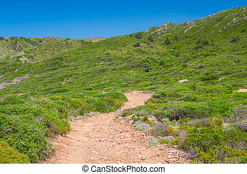 Unsurfaced walkway among green hills at Menorca island. -...