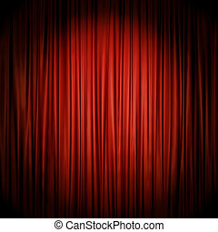 Red stage curtain illuminated by spotlight.