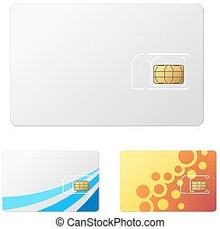 Blank white new SIM card vector template.