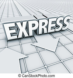 logo express - 3D elements, logo express and arrows