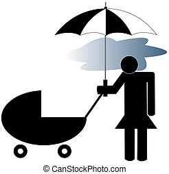 post partum depression - depressed mother pushing stroller -...