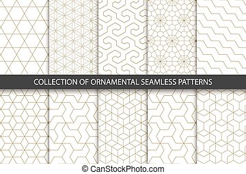 Collection of seamless ornametal patterns. Geometric design
