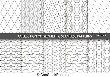 Collection of seamless ornametal patterns. White and gray...