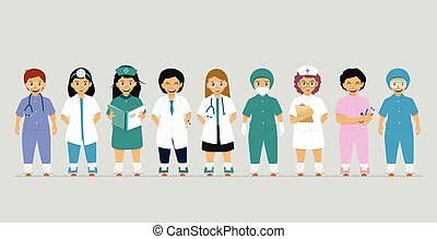 Doctor in medical uniform with gray background
