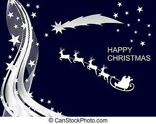 christmas card - vector illustration of santa`s sleigh on an...