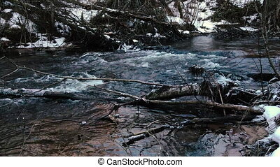 Movement of the river in early spring. Video 4k.