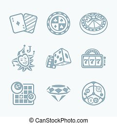 Casino games icons || TECH series - Gray contour icons for...