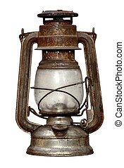 time-worn kerosene lamp - Shot of the antique time-worn...