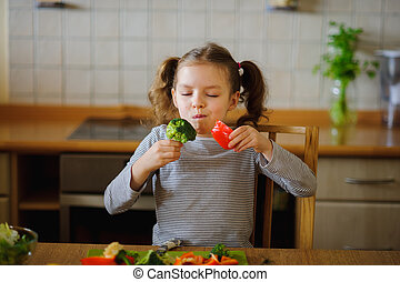 Girl of 8-9 years sits at a kitchen table. Before her...