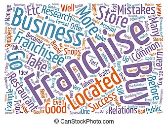 Buyer Beware Common Mistakes Failed Franchisees Make text background word cloud concept