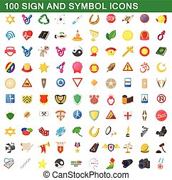 100 sign and symbol icons set, cartoon style