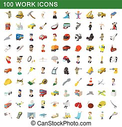 100 work icons set, cartoon style