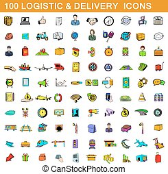 100 logistic and delivery icons set, cartoon style - 100...